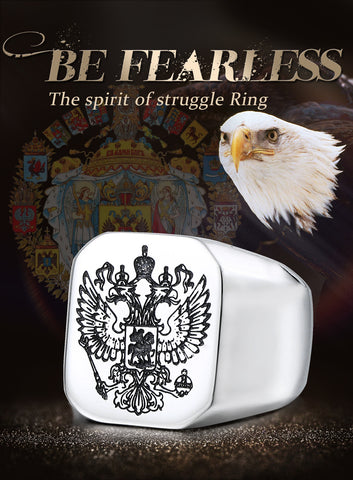 Image of Stainless Steel Eagle Man Ring With A Coat Of Arms Of The Russian
