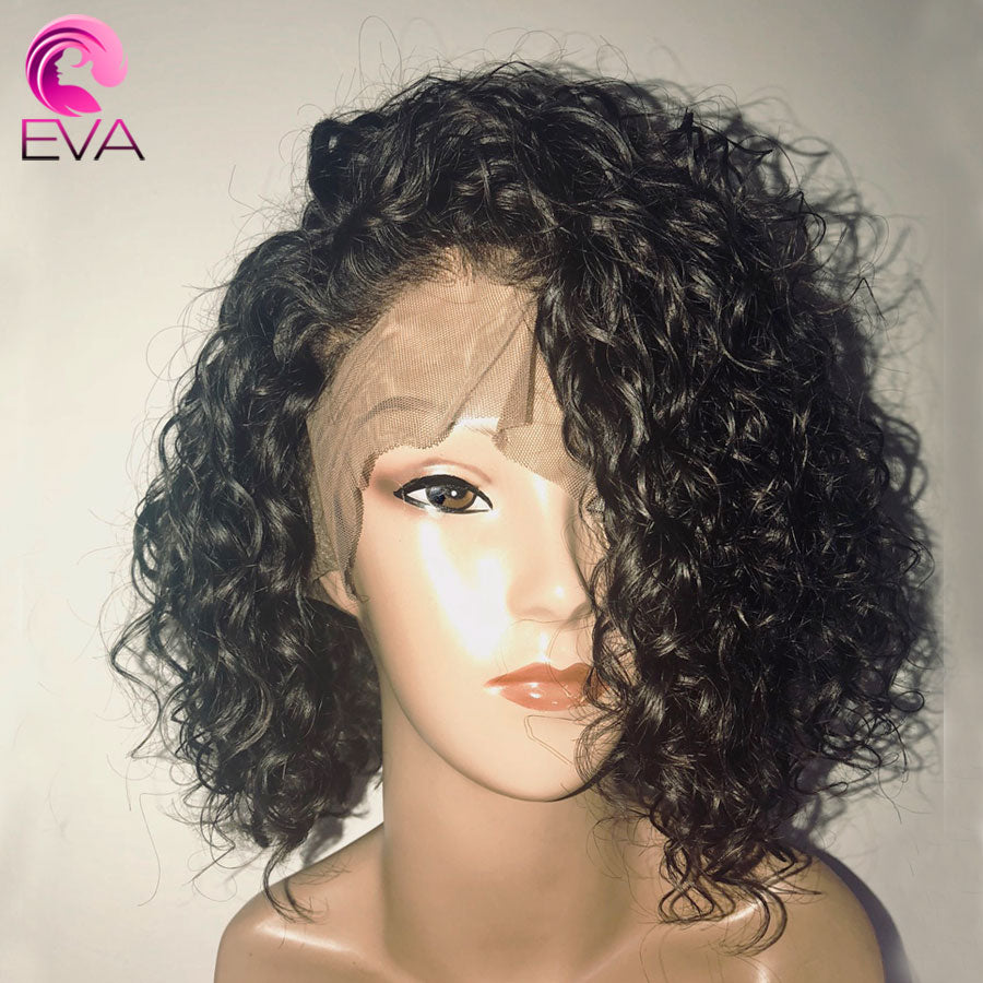 150% Density Short Curly Lace Front Human Hair Wigs