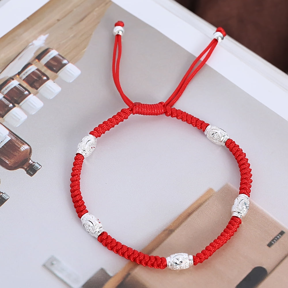 Lucky Red Rope S925 Sterling Silver Bead Shamballa Bracelet