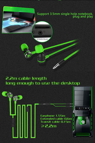 G20 In-ear headphone for Phone & Computer stereo gaming headphones with Microphone