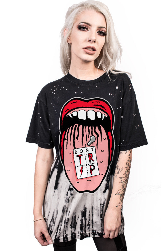 Europe Style 3D Print Mouth Design O-neck Loose Punk Tops