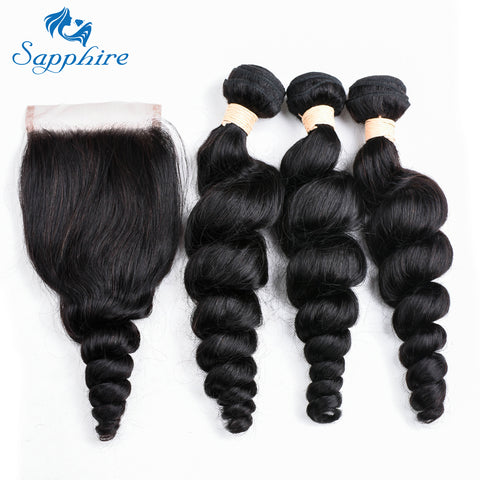 Image of Loose Deep Wave With Lace Closure 3 Bundles Malaysian Human Hair