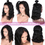 13x6 Short Bob Lace Front Wigs Human Hair Natural Wave Indian Non-remy Natural Black
