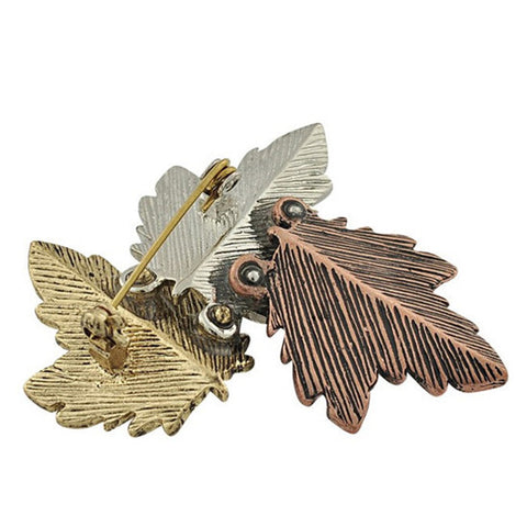 Image of Vintage Leaf Brooches Pins Exquisite