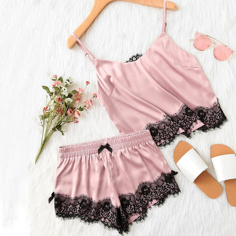 Image of Spaghetti Strap Lace Applique Satin Cami Top and Shorts Pajama Set