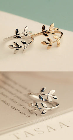 Image of Charms Olive Tree Branch Leaves Ring