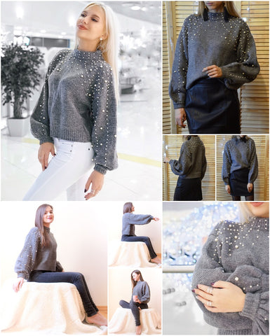 Image of Pearl Turtleneck Winter Knitted Sweater