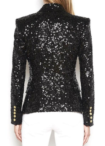 Women Sequin Blazer Golden Button Long Sleeve Jackets
