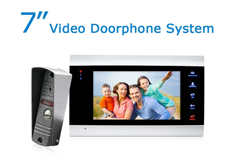 7 inch Video Doorbell Monitor Intercom With 1200TVL Outdoor Camera