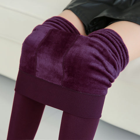 High Elastic Waist Winter Plus Velvet Thicken Women's Warm Pants