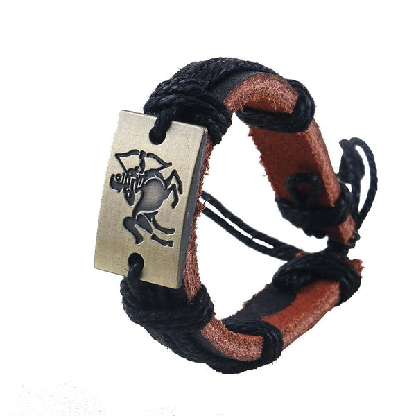 Leather Zodiac Signs Charm Bracelets & Bangles