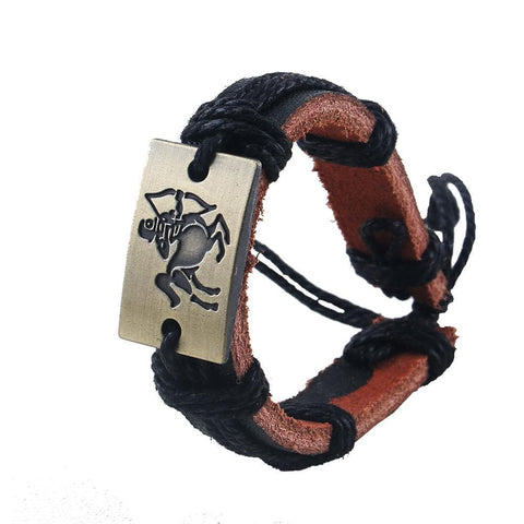 Image of Leather Zodiac Signs Charm Bracelets & Bangles