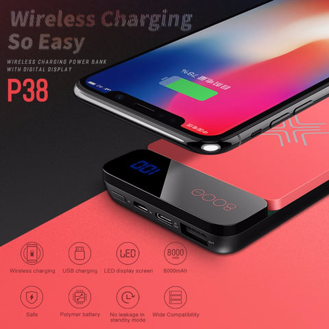 Image of QI Wireless Charger Power Bank 8000Mah