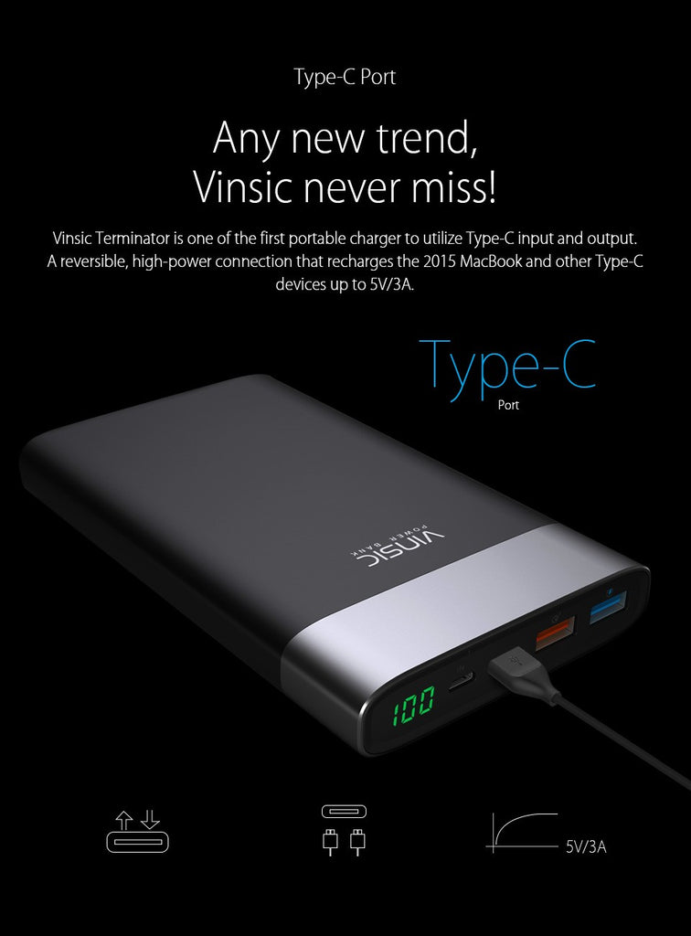 Power Bank QC3.0 Quick Charge For Samsung, iPhone 8, Xiaomi
