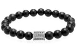 8MM Natural Stone Titanium Steel CZ BeadS Charm Bracelets
