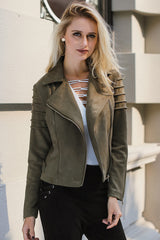 Casual Suede Ruffle Long Sleeve Leather Jacket