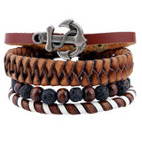 4Pcs Vintage Multilayer Pu Leather Anchor Bracelets