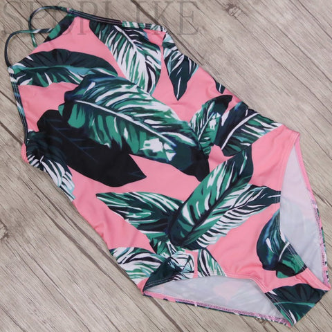 Image of Green leaves One Shoulder Swimwear