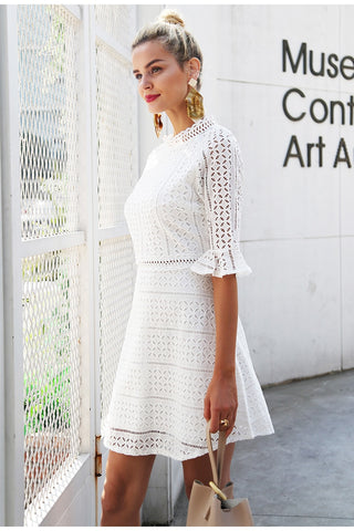 Elegant Hollow Out Lace Summer Style Midi Dress