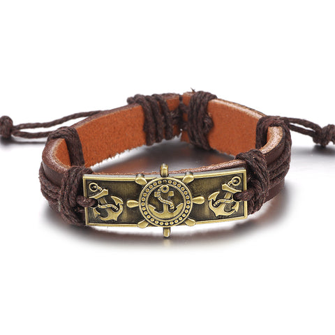 Image of Vintage Rope Handmade Bead Woven Owl Leather Bracelets Bangles