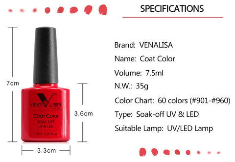 Image of Nail Art Design Manicure 60Color 7.5Ml Soak Off Enamel Gel Polish LED UV Gel Nail Polish Lacquer