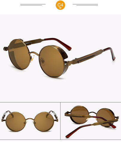 Gothic Steampunk Vintage Metal Coating Mirror UV400 Sunglasses