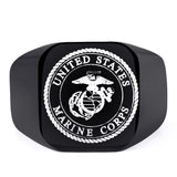 Limited Edition USMC - US Army Marine Corps Titanium Punk Biker Ring