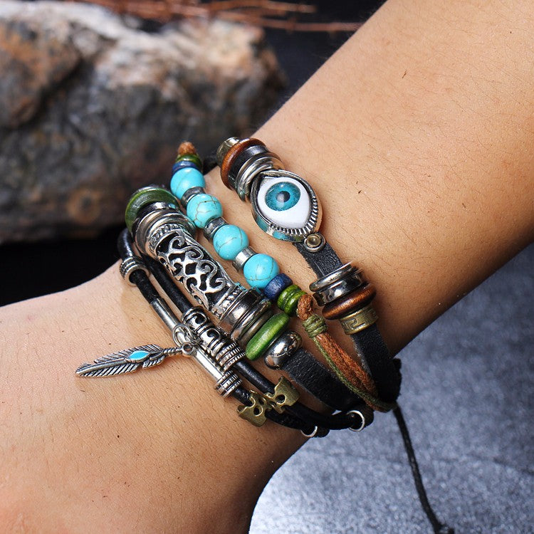 Tibet Stone Feather Leather Eye Fish Charms Beads Bracelets