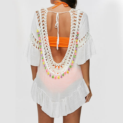Tassel See-Through Crochet