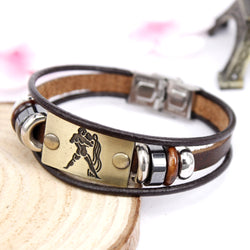 Beaded Charm Zodiac Signs Leather Bracelet
