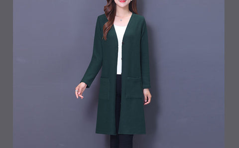 Image of Knitted Cardigan Winter Jacket Loose Plus Size