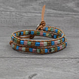 Natural Stones 2 Strands Wrap Vintage Weaving Bead Friendship Bracelet