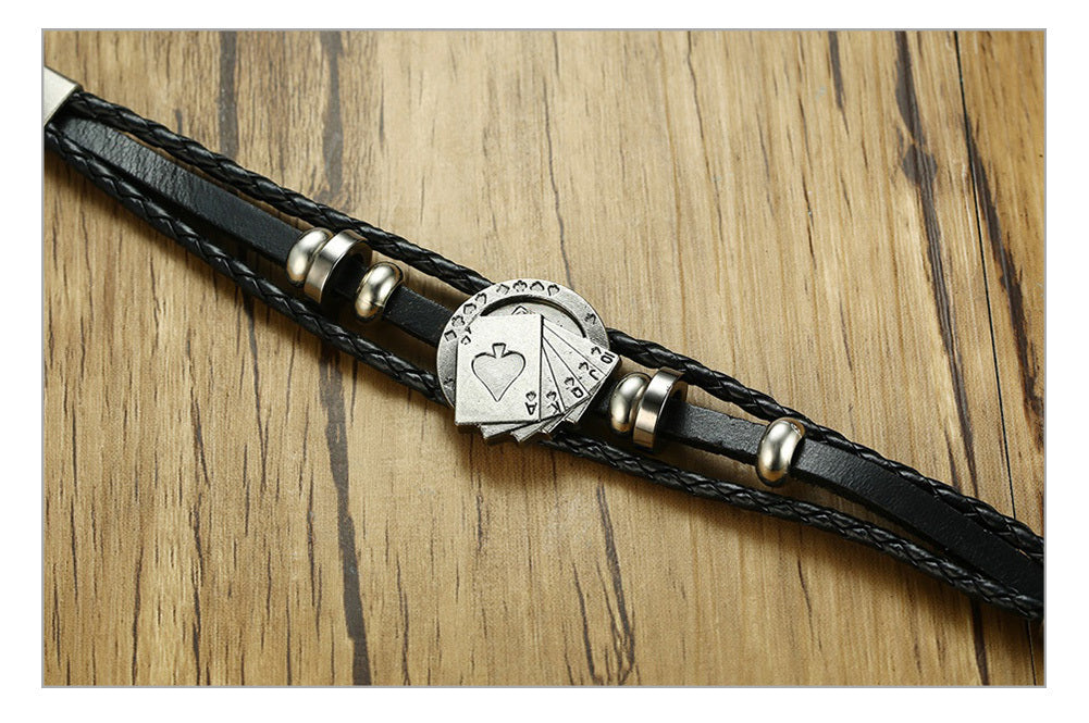 Lucky Vintage Men's Playing Cards Raja Vegas Charm Leather Bracelet
