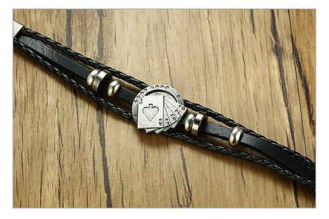 Image of Lucky Vintage Men's Playing Cards Raja Vegas Charm Leather Bracelet