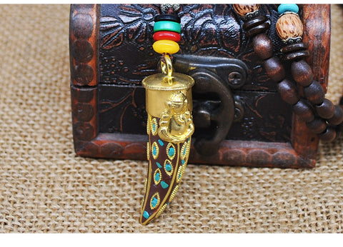 Image of Handmade Buddhist Mala Wood Beads Pendant Necklace