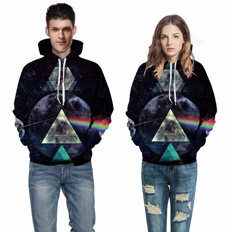 Space Galaxy Hoodies Unisex Hooded Light refraction Sweatshirts