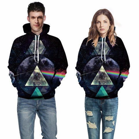Image of Space Galaxy Hoodies Unisex Hooded Light refraction Sweatshirts