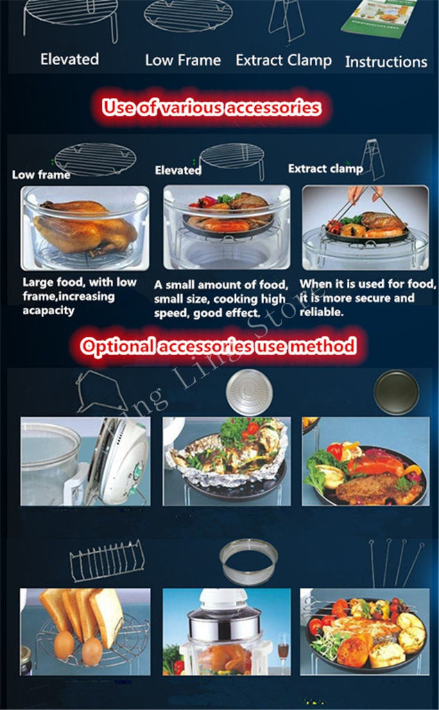 Infrared Halogen Convection Oven with Stainless Steel Extender Ring