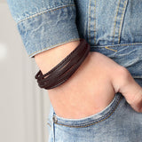 Braid Chain Stainless Steel Rope Genuine Leather Bracelet