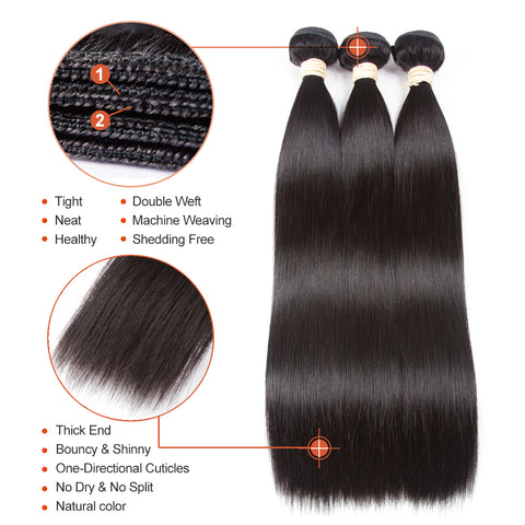 Image of Brazilian Straight Hair Bundles With Frontal Closure Human Hair