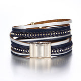 Multiple Layers Leather Crystal Beads Charms Bracelets