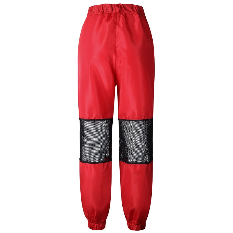 Red Mesh Casual High Waist Trousers Streetwear