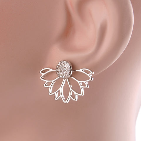 Crystal Hollow Out Half Flower Stud Earrings