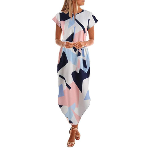 Image of Summer Slim Geometric Printing Asymmetrical Dress
