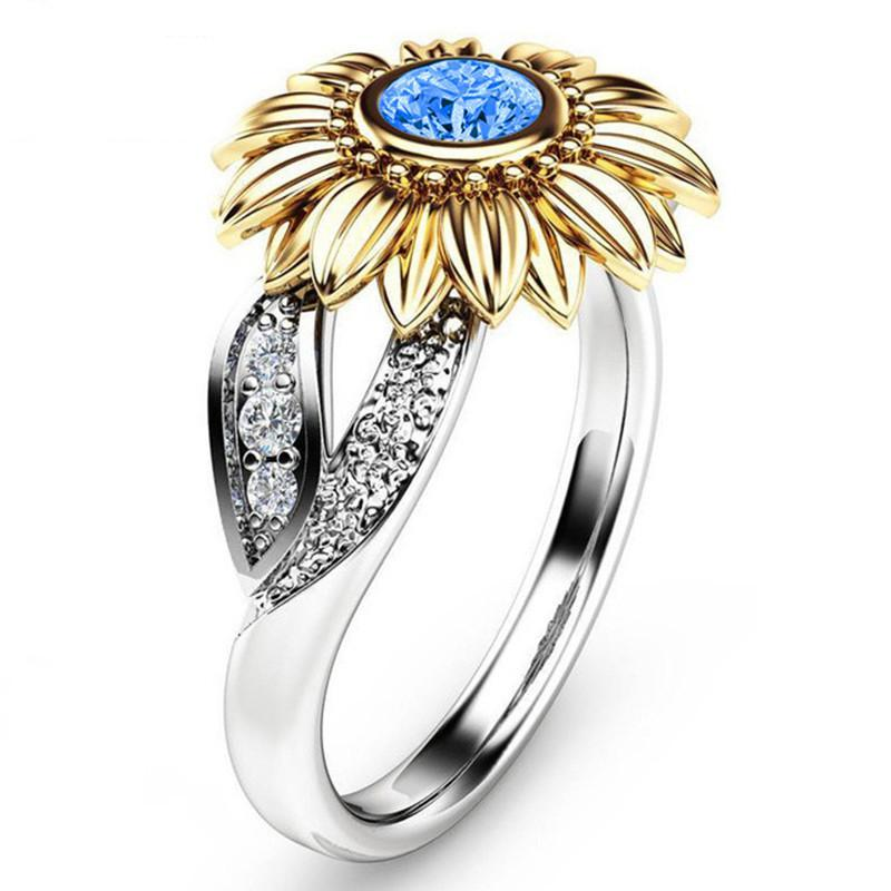 CZ Stone Bague Sunflower Crystal Wedding Rings