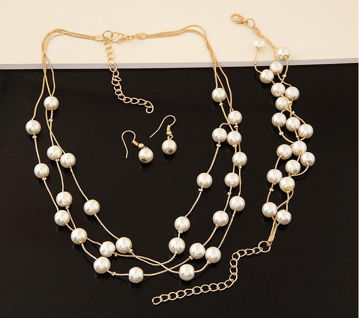 Simulated Pearl Pendants Necklaces