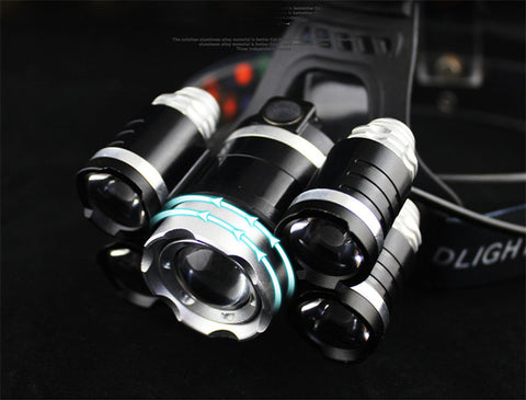Image of CREE 5*LED XML T6 20000 Lumens 4mode Zoomable Head Lamp flashlight