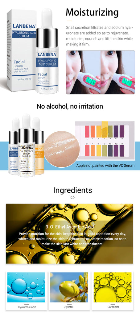 LANBENA Vitamin C Serum+Six Peptides Serum 24K Gold+Hyaluronic Acid Serum Anti-Aging Moisturizing Skin Care