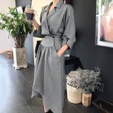 Korea Notched Three Quarter Sleeve Irregular Hem Mid-calf Dress