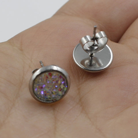 Image of 1Pair 8MM Stainless Steel Shiny Austrian Crystal Round Studs Earrings